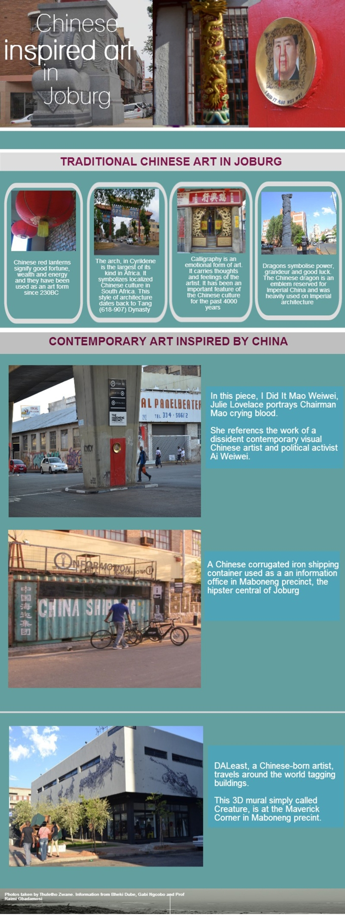INFOGRAPHIC: traditional and contemporary Chinese art, Photos: Thuletho Zwane